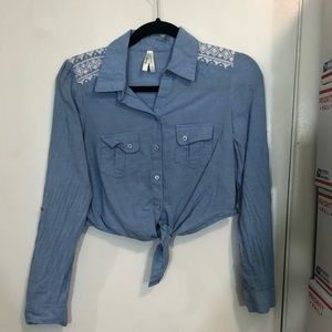 Truth NYC Chambray Cropped Button Down